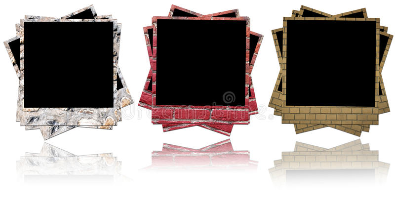 Brick photo frame stock images