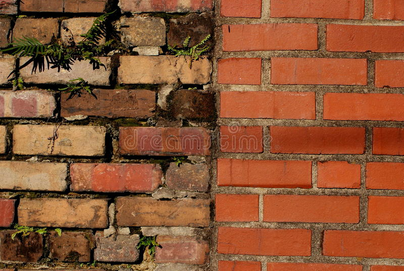 Brick repair. Brick wall in historic downtown Rocky Mount North Carolina royalty free stock photos