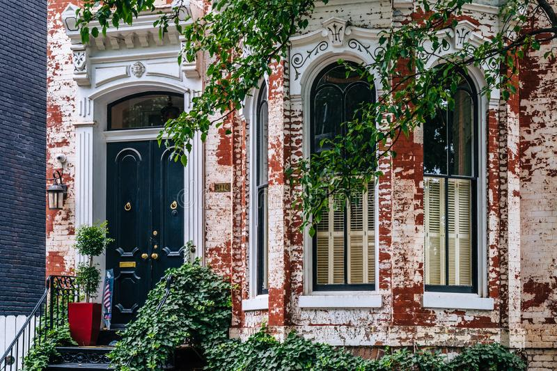 A brick row house in Georgetown, Washington, DC royalty free stock image