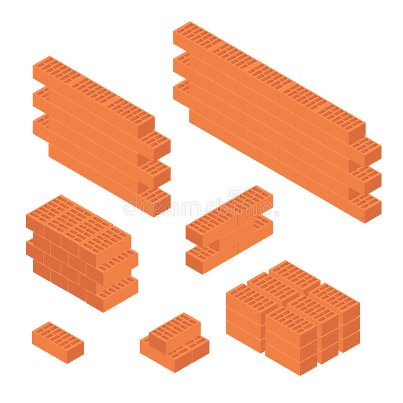Brick Set and Wall Isometric View. Vector vector illustration
