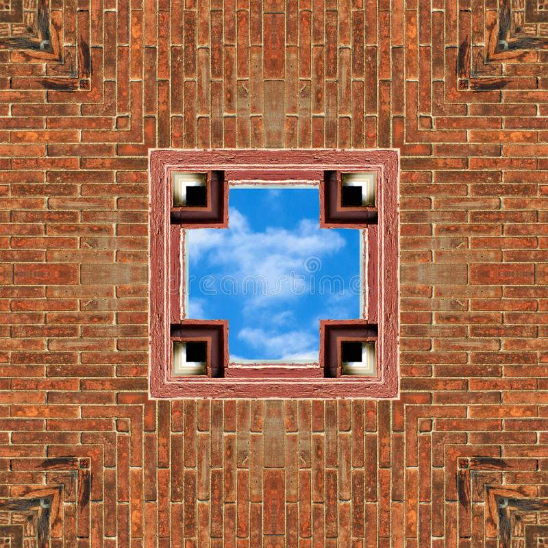 Brick and Sky Seamless Tile Background. Brick Seamless Tile Background with Blue Cloudy Sky in Cutout Opening stock photography
