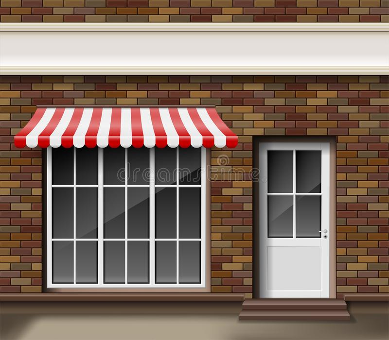 Brick small 3d store or boutique front facade. Exterior boutique shop with big window. Blank mockup of stylish realistic royalty free illustration