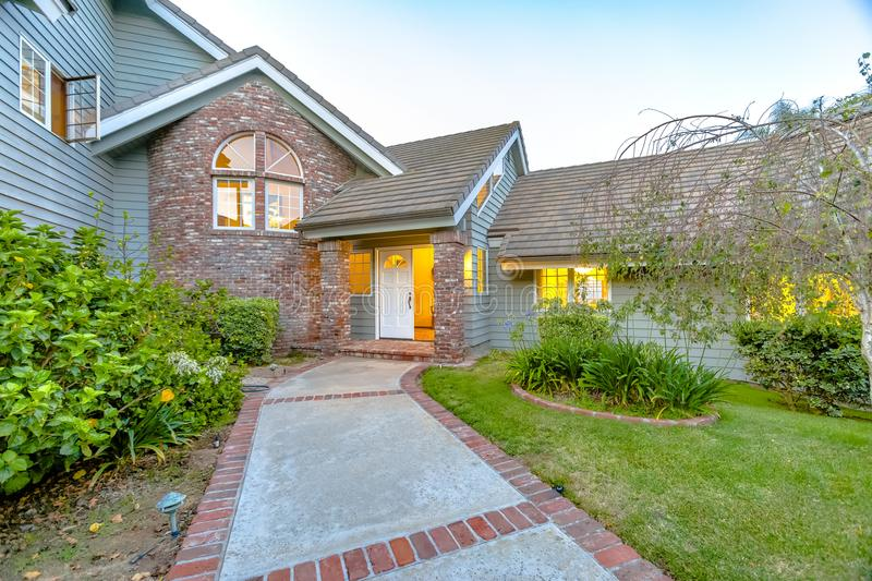 Brick and stone entry of luxury home in San Diego stock photography
