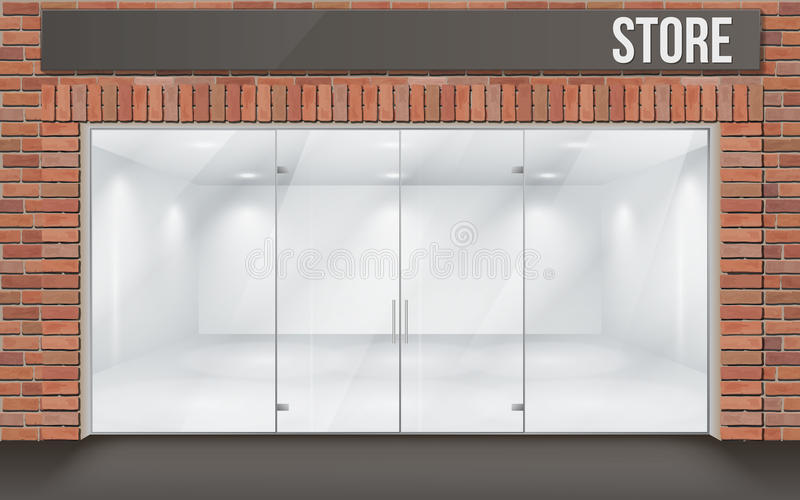 Brick store front with big window vector illustration