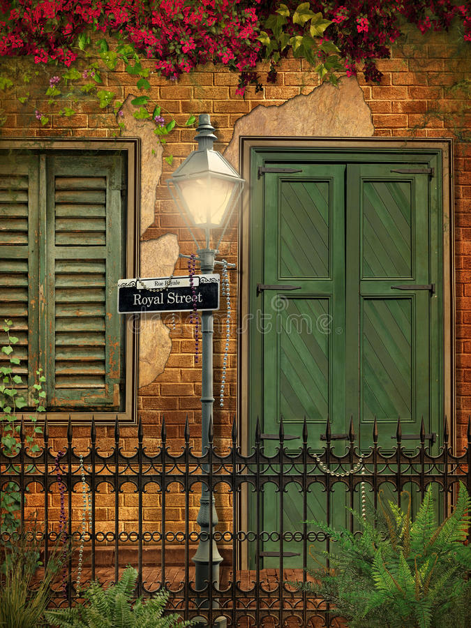 Brick and Stucco New Orleans Background royalty free illustration