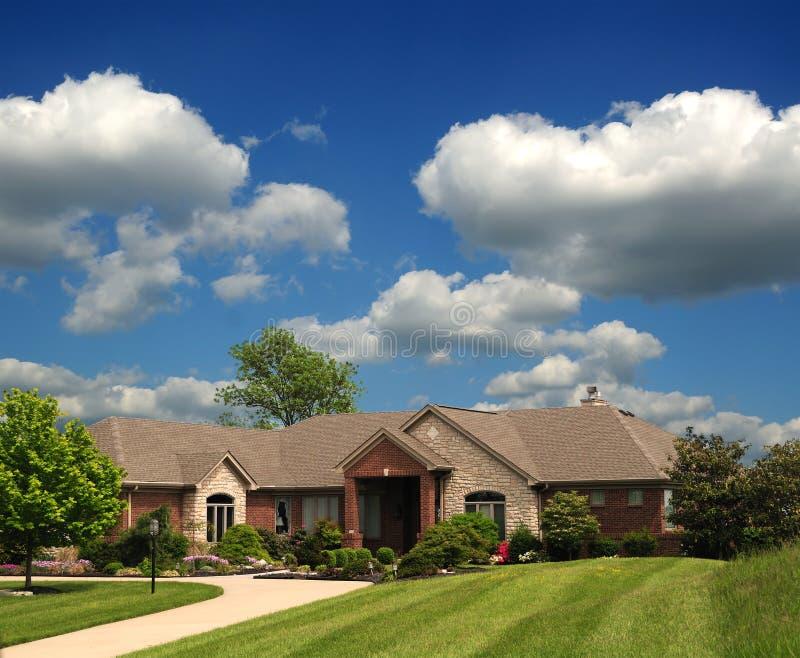 Brick Suburban Ranch Home Stock Image