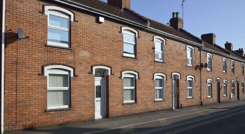 Brick Terraced Houses. Restored Brick Terraced Houses in Bridgwater, Somerset royalty free stock images