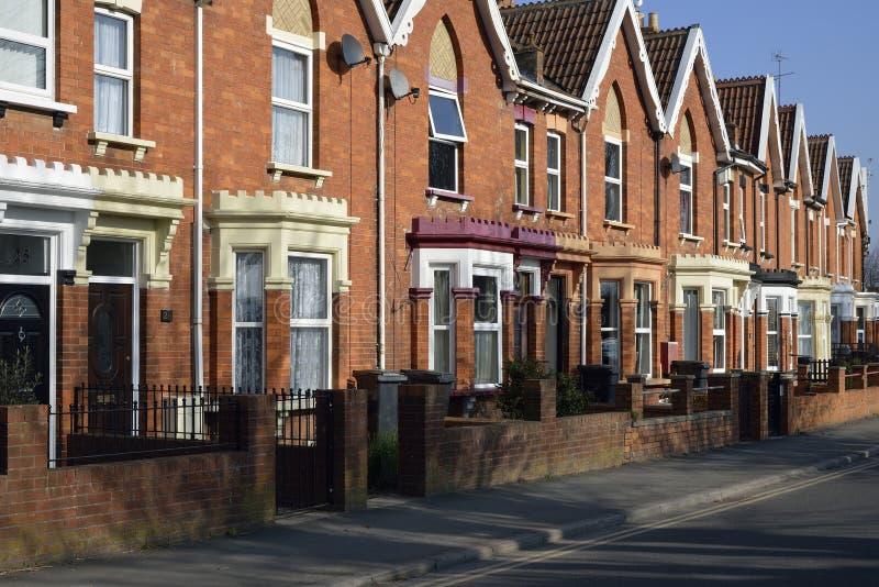 Brick Terraced Houses. Restored Brick Terraced Houses in Bridgwater, Somerset stock images