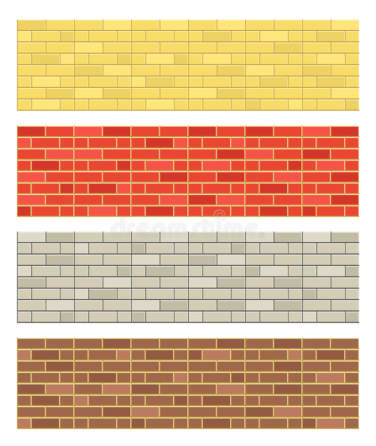 Brick textures collection vector illustration