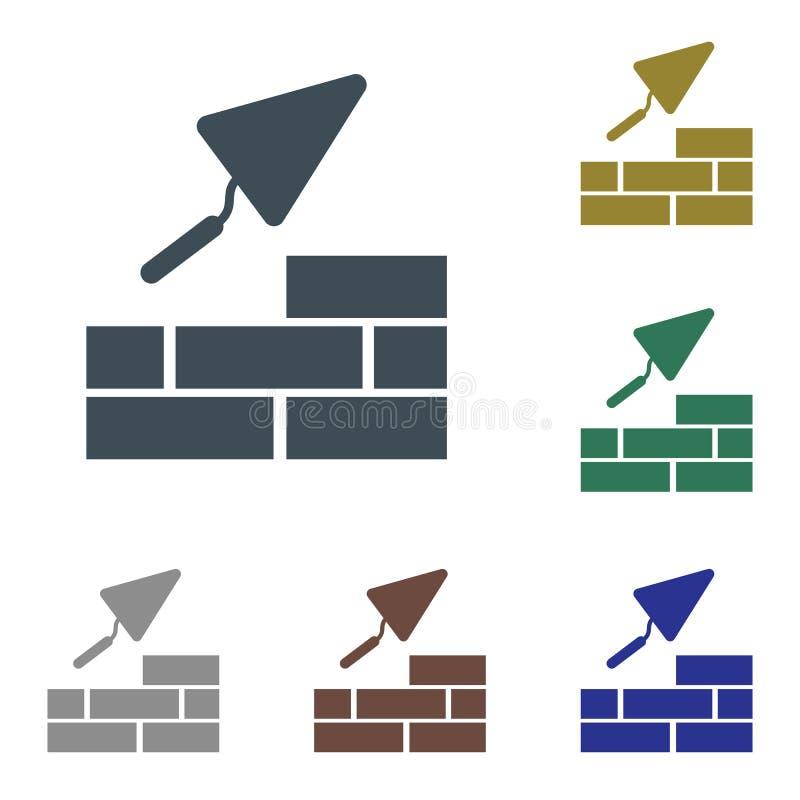 Brick with Trowel Symbol. Vector illustration royalty free illustration