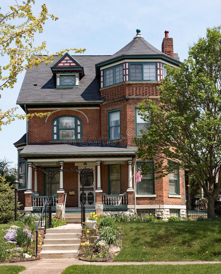 Brick Victorian House with Turret stock photos