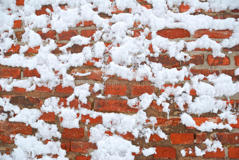 Brick wall. Covered in heavy snow royalty free stock photography