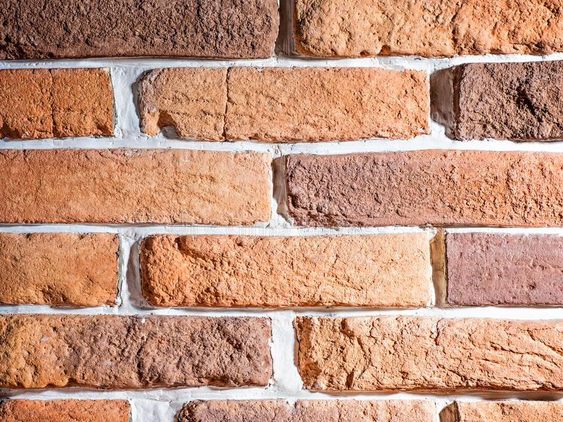 Brick wall artificial stone decor element for interior. Rustic rural vintage retro style royalty free stock photos
