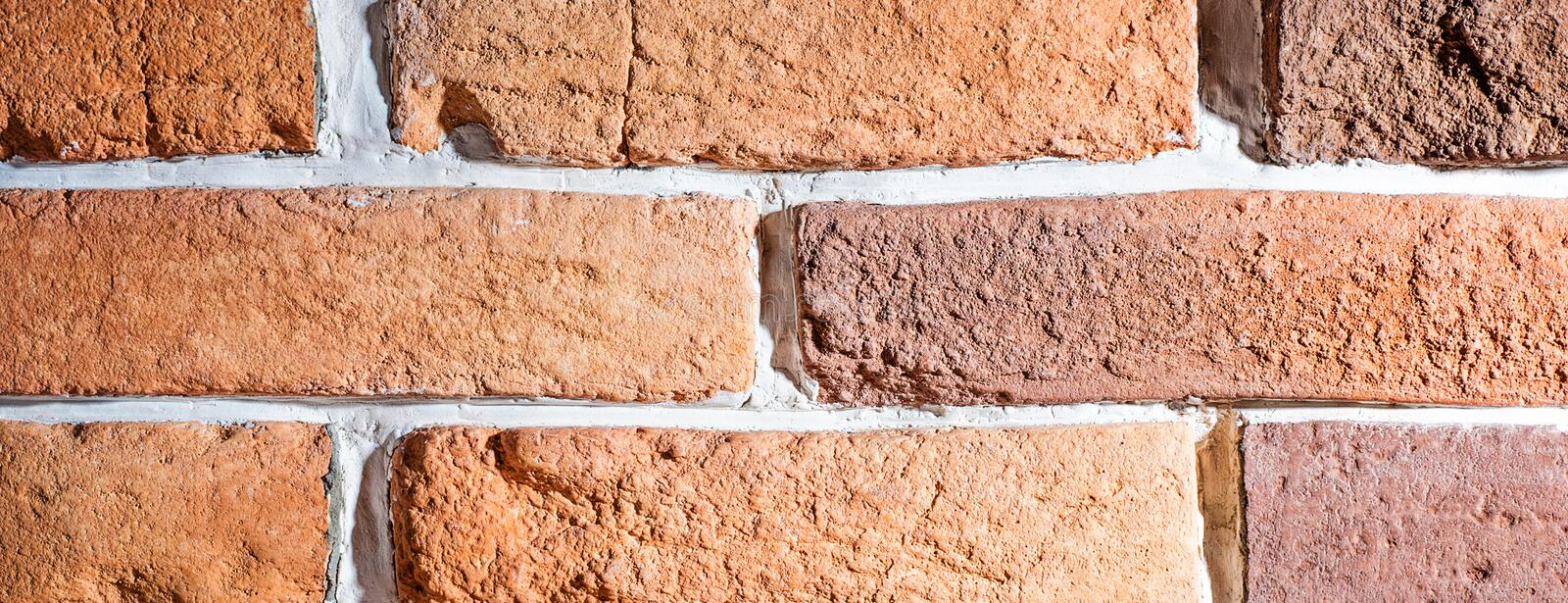 Brick wall artificial stone decor element for interior. Rustic rural vintage retro style stock images