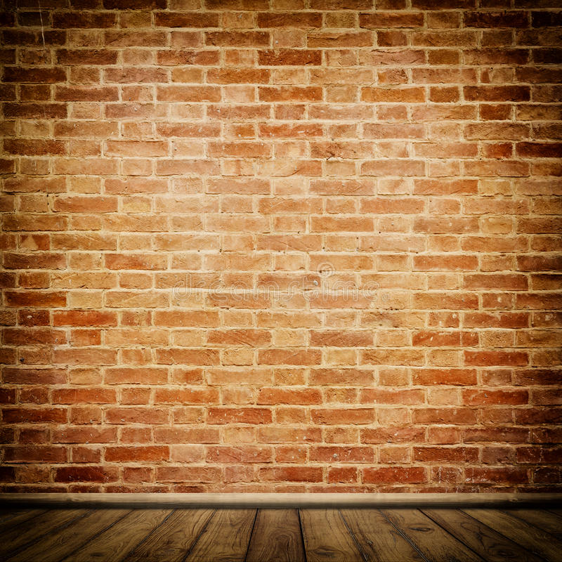 Brick wall background. Brick wall and old wooden floor background for the design royalty free illustration