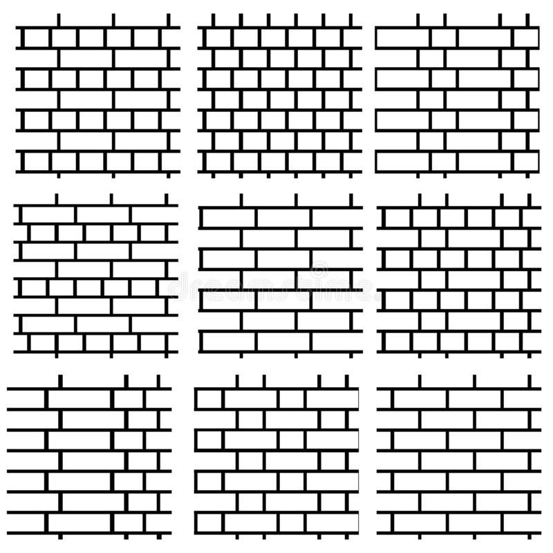 Brick wall background. Set of seamless vector patterns. Differen royalty free illustration