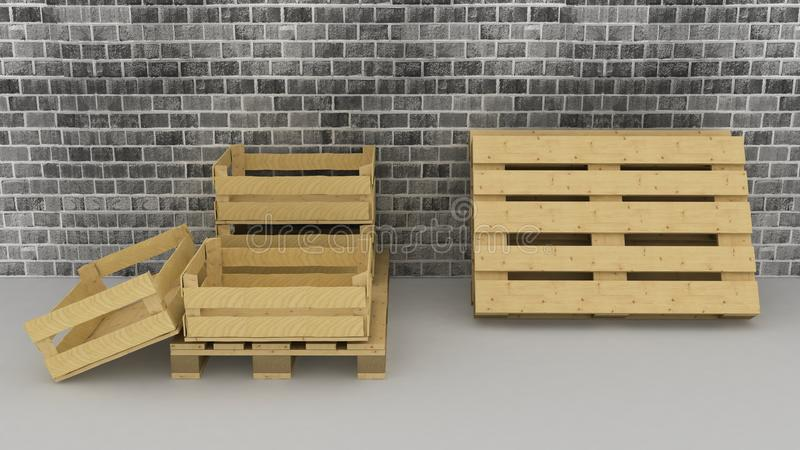 Download Brick Wall Background With Wooden Boxes And Pallets Stock Illustration - Image: 36375218