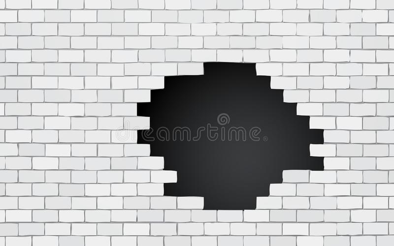 Brick wall with black hole stock illustration