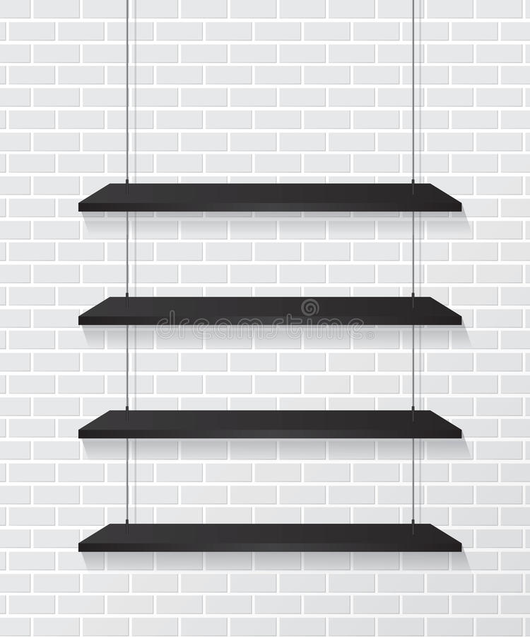 Brick wall and black shelves. Background stock illustration