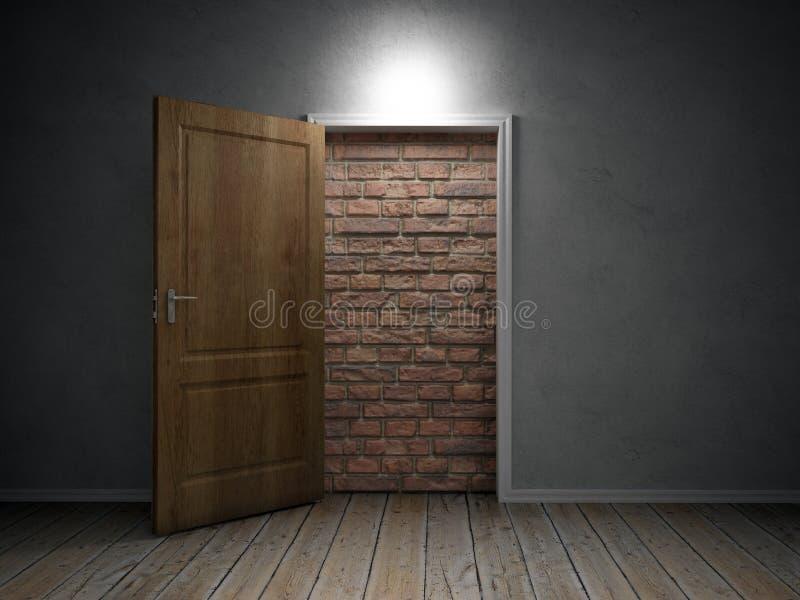 Brick wall blocking the doorway stock photo