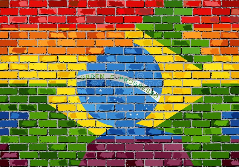 Brick Wall Brazil and Gay flags stock illustration