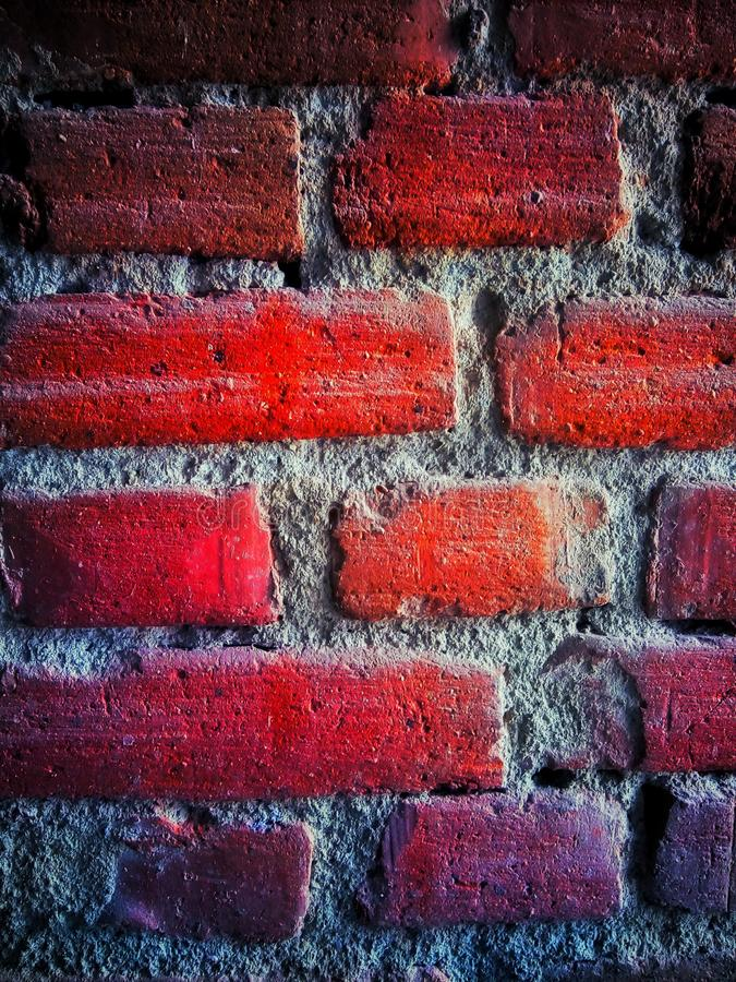 Brick wall. Red, contrast, vintage royalty free stock images