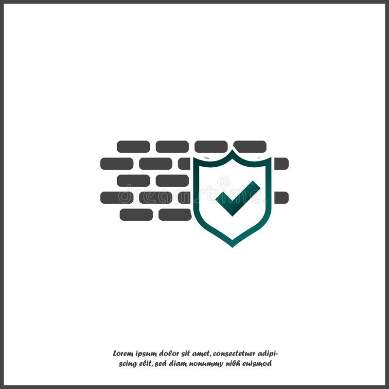 Brick wall check board icon on white isolated background. Layers grouped for easy editing illustration. For your design royalty free illustration