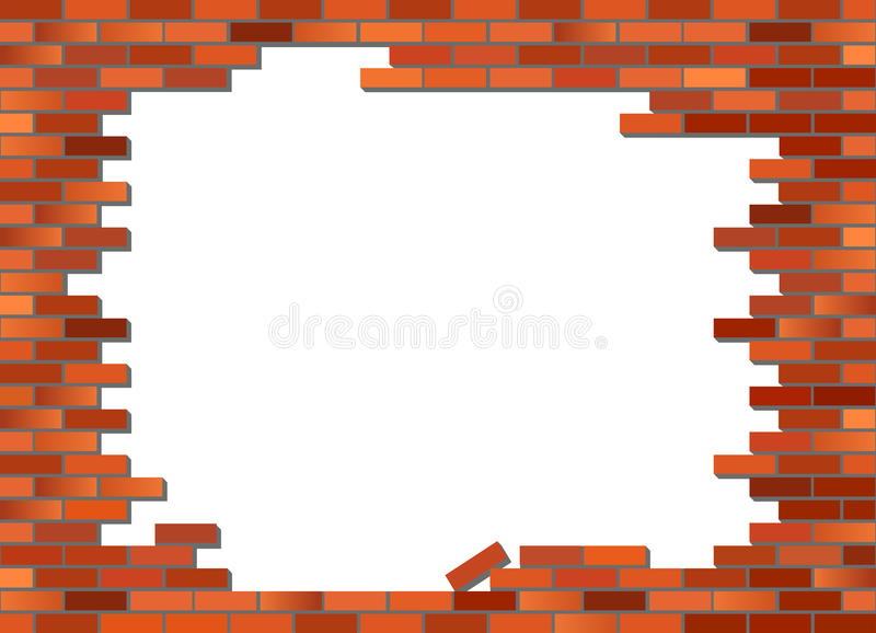 Brick Vector Picture Brick Veneers: Brick Wall Collapsed Stock Vector. Illustration Of Facade