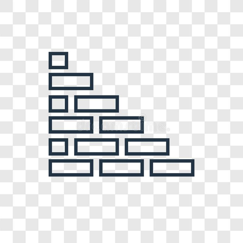 Brick wall concept vector linear icon isolated on transparent ba. Ckground, Brick wall concept transparency concept in outline style royalty free illustration