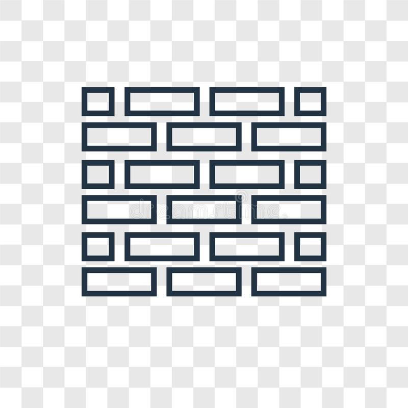 Brick wall concept vector linear icon isolated on transparent ba. Ckground, Brick wall concept transparency concept in outline style vector illustration