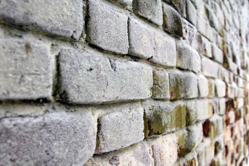 Brick wall covered with frost. Background royalty free stock image