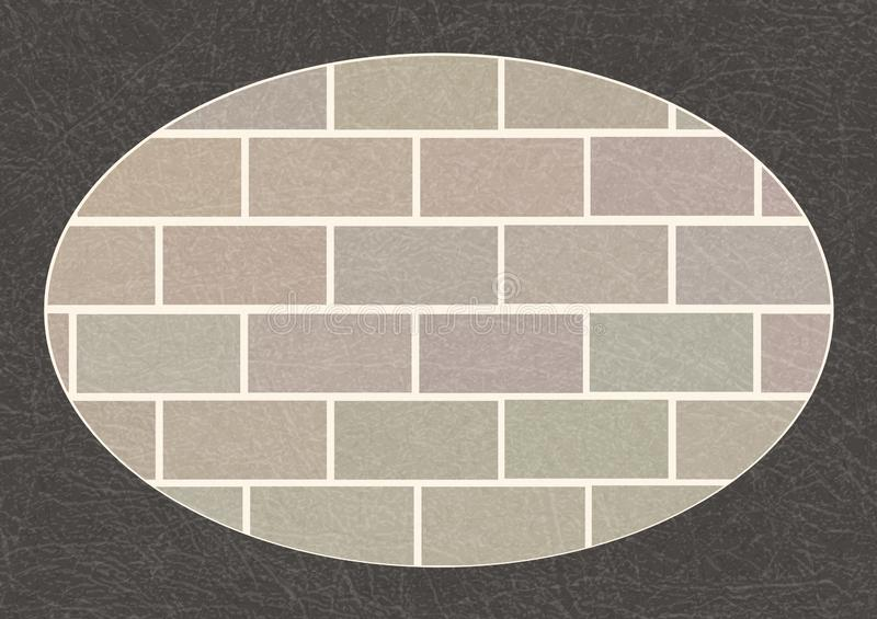Brick wall in dark gray oval frame with scratched texture, grunge, brickwork of ordinary grey bricks. Brick wall in dark gray oval frame with scratched texture vector illustration
