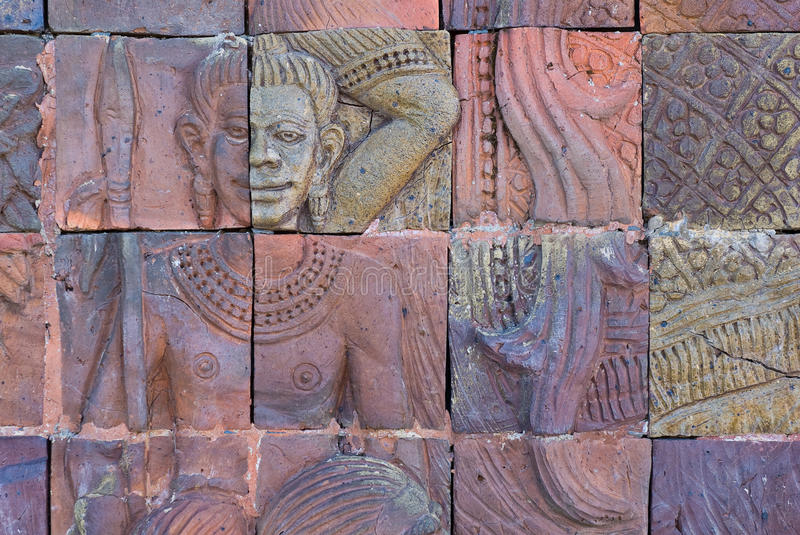 Brick wall decorate in temple