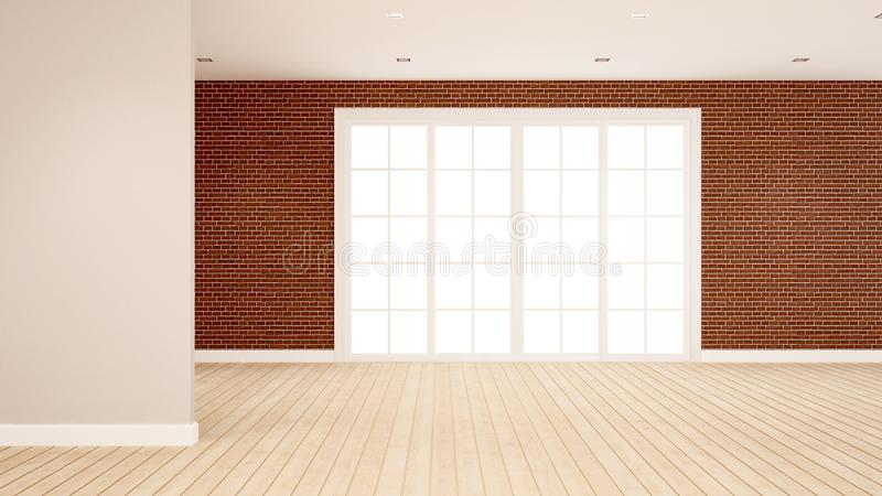 Brick wall decoration in empty room for apartment or hotel artwork  - Interior design - 3D Rendering vector illustration