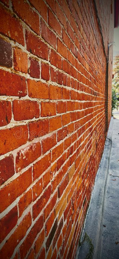 Red Brick wall perspective with vanishing point vertical royalty free stock photos