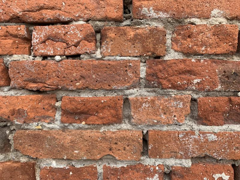Brick wall. Detail of texture of old red brick wall royalty free stock photo