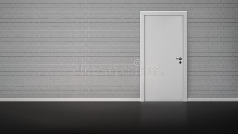 Brick wall with door stock illustration