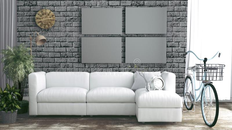 Brick wall empty room interior with loft style. 3D rendering royalty free illustration