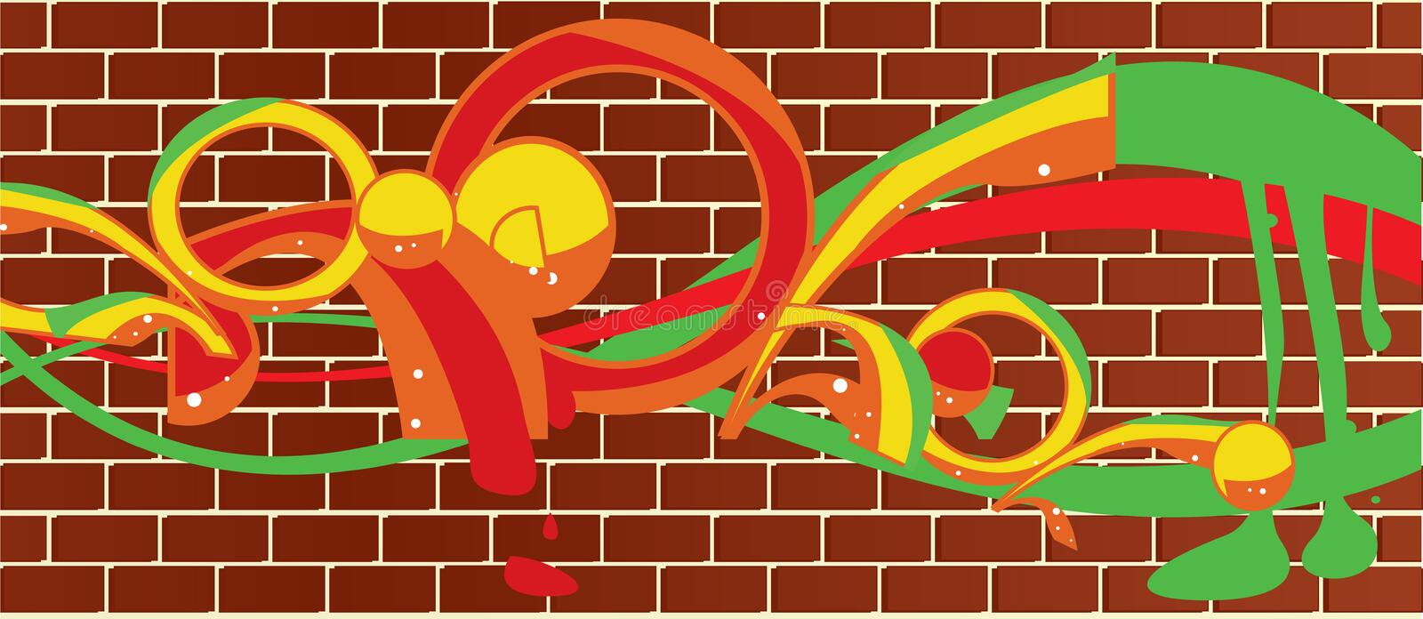 Brick wall graffitti stock illustration