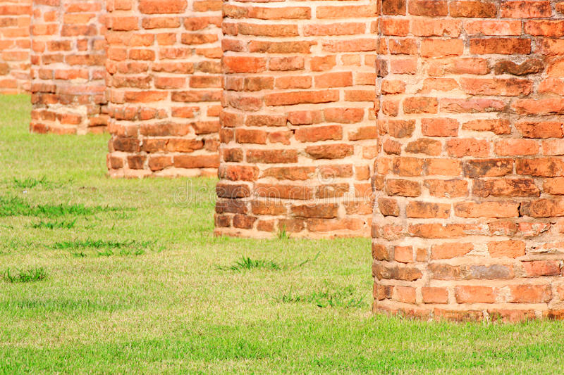 Brick wall with grass stock images
