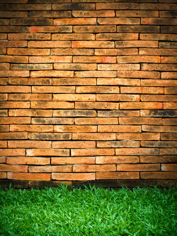 Download Brick Wall and Green Grass stock photo. Image of frame - 14858868