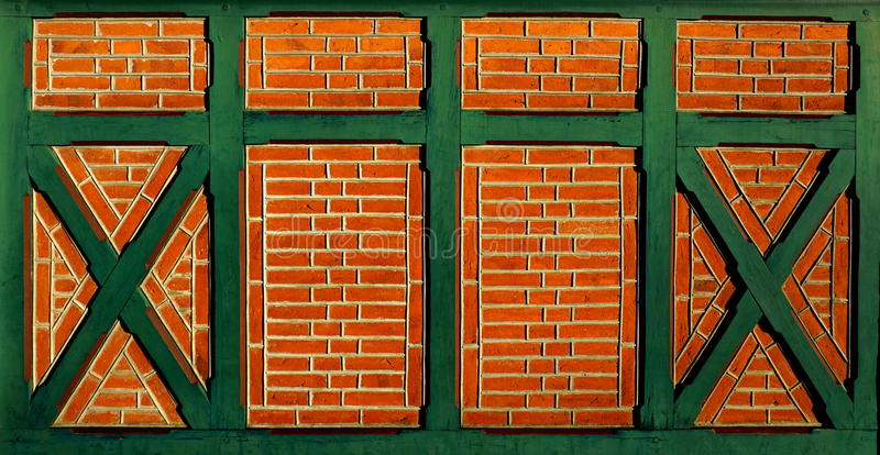 Brick wall. And green wooden decor - background image for websites, posters and flyers stock photos