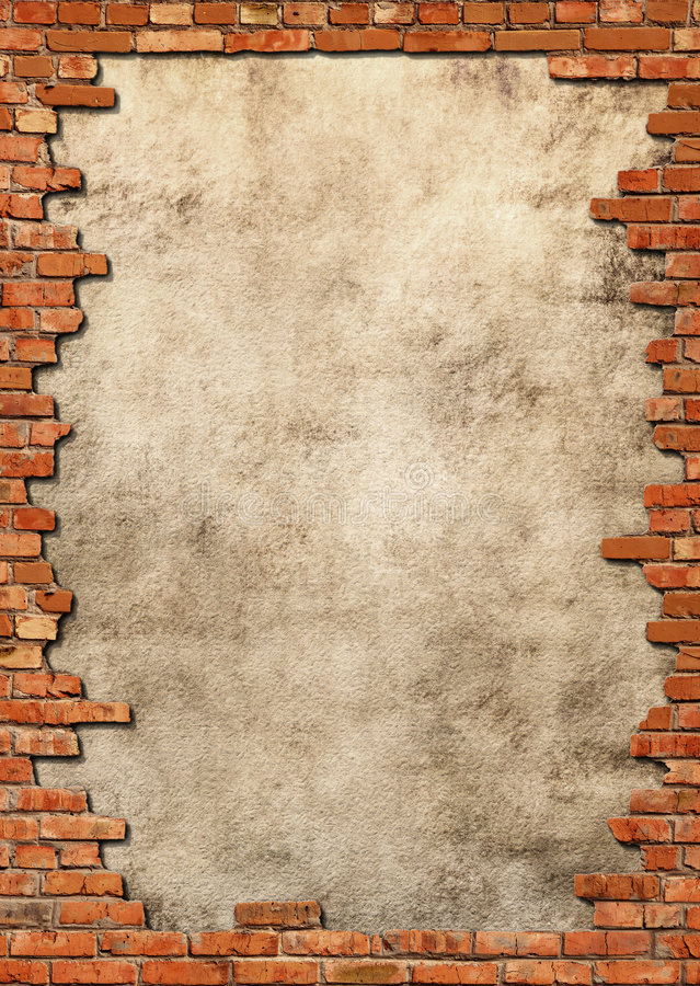 Brick wall grungy frame royalty free illustration