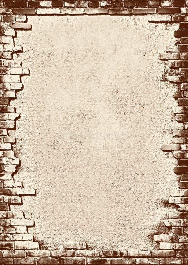 Brick wall grungy frame vector illustration