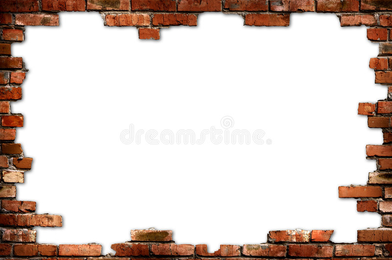 Brick wall grungy frame stock photo