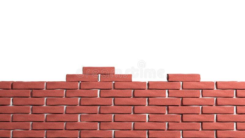 Brick wall. Half brick wall isolated on white stock illustration