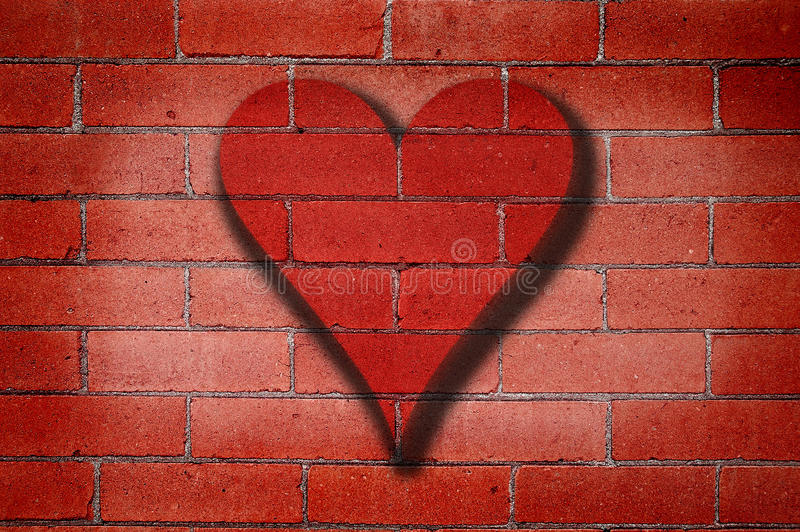 Brick Wall Heart Graffiti stock image