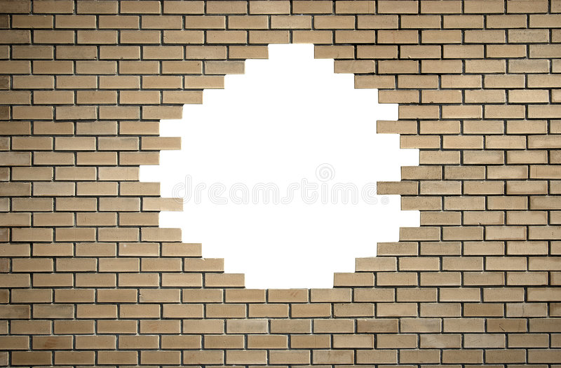 Brick wall with hole royalty free stock image