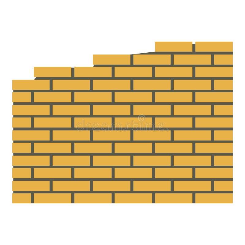 Brick wall icon, flat style royalty free illustration