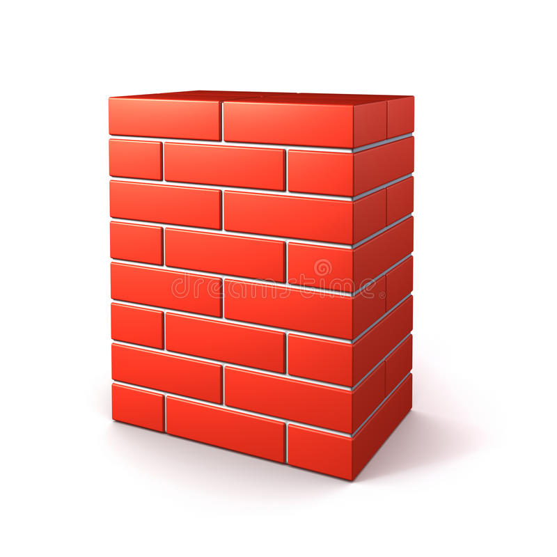 Brick wall isolated. On white royalty free illustration